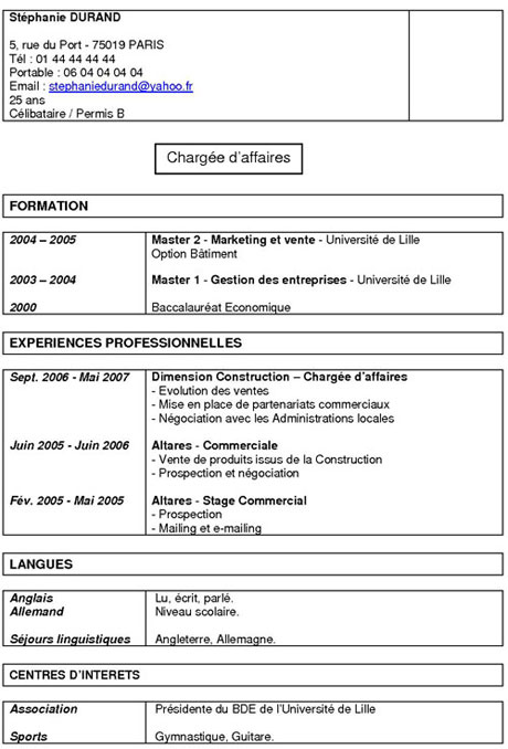 exemple cv anti chronologique
