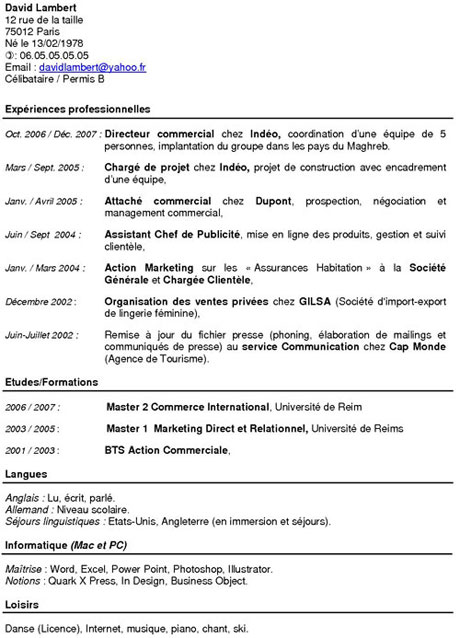cv cdi exemple Exemples de CV Anti chronologique cv cdi exemple