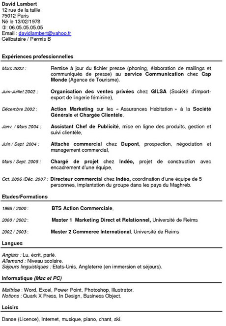 exemple de cv batiment Exemples de CV Chronologique exemple de cv batiment