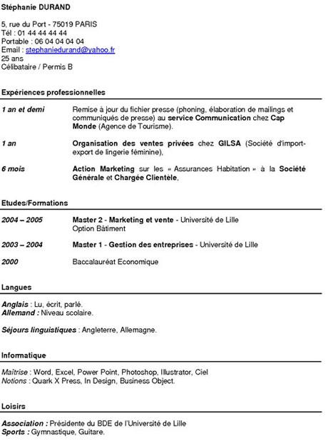 Exemples De Cv Fonctionnel