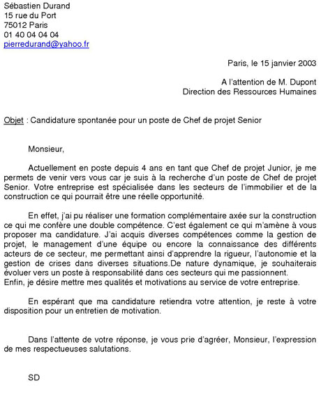 lettre de motivation de candidature Exemple de candidature spontane lettre de motivation de candidature