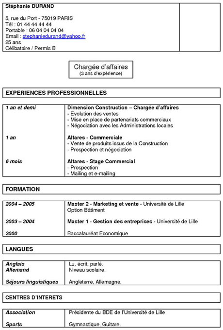 exemple cv fonctionnel