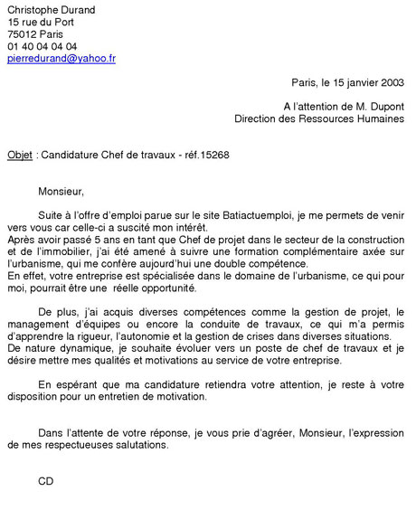 exemple lettre motivation emploi Exemple de lettre de motivation exemple lettre motivation emploi